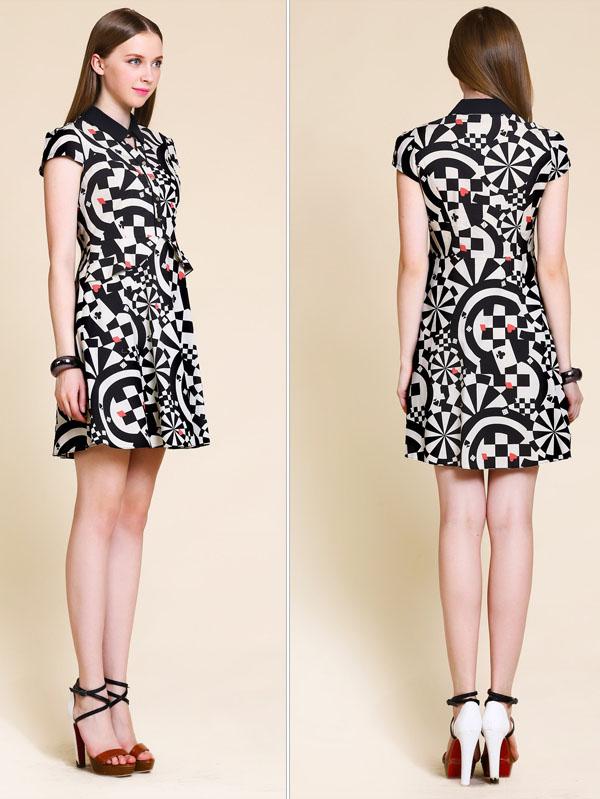 cf5c29bb84bf Retro black white print short-sleeved lapel dresses,women dresses ...